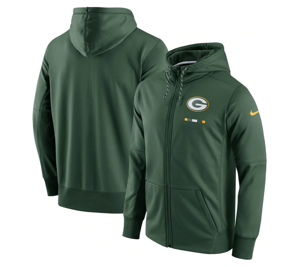 Men's Green Bay Packers Nike Green Sideline Logo Performance Full-Zip Hoodie