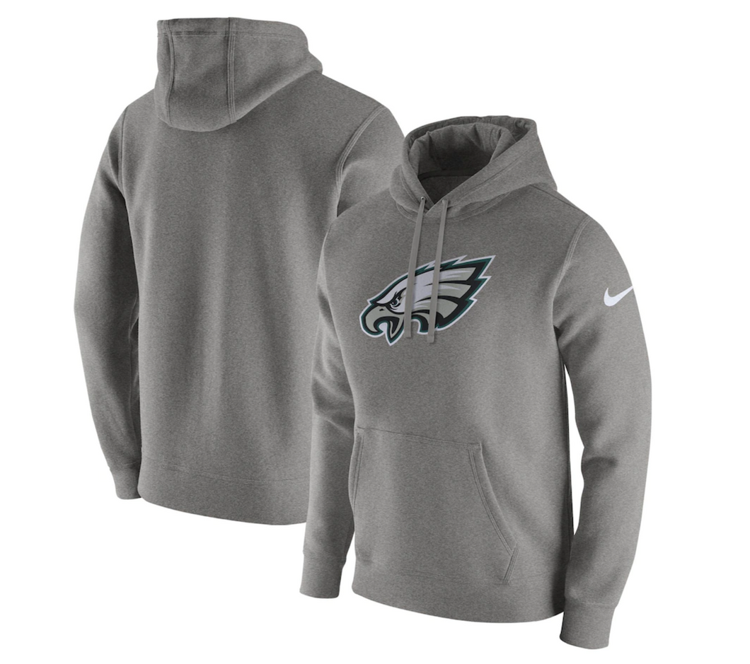 Men's Nike Gray Philadelphia Eagles Club Logo Fleece Pullover Hoodie