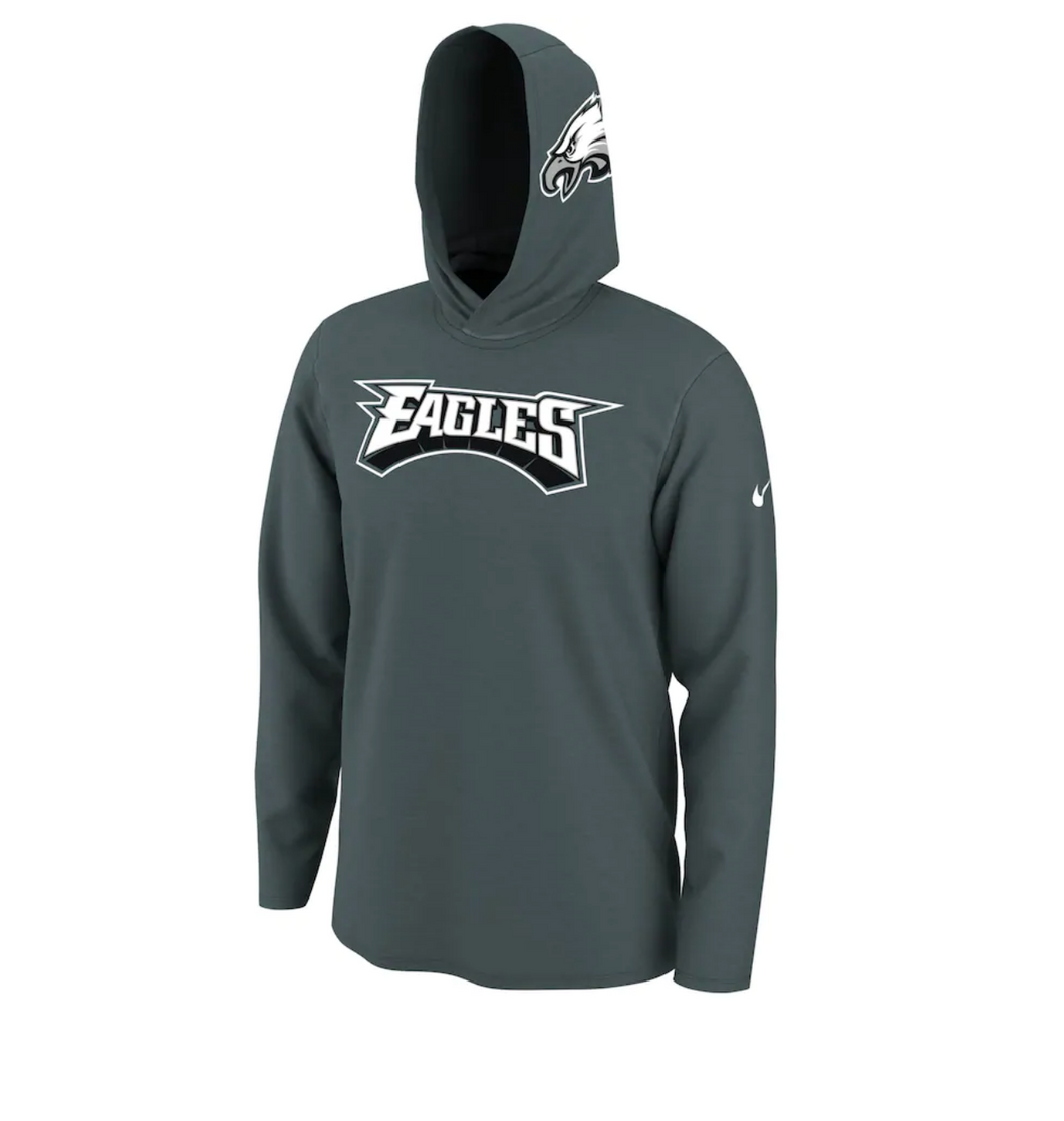 Men's Nike Midnight Green Philadelphia Eagles Helmet Performance - Hoodie Long Sleeve T-Shirt