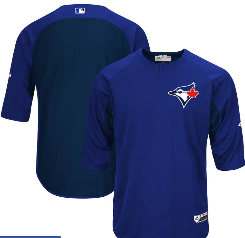 Toronto Blue Jays Majestic Royal/Navy Authentic Collection On-field 3/4 Sleeve Tee