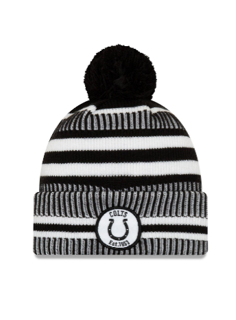 Indianapolis Colts New Era Sideline Black Home Pom Knit Hat/Toque