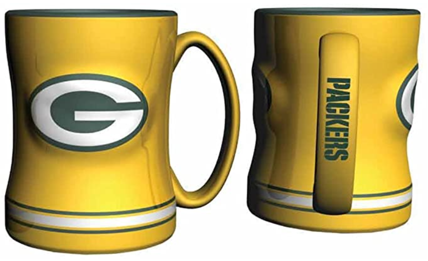 GREENBAY PACKERS SCULPTED 14OZ YELLOW RELIEF MUG