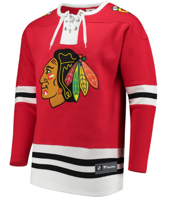 Chicago Blackhawks Fanatics Branded Red Breakaway Lace Up Pullover Sweatshirt