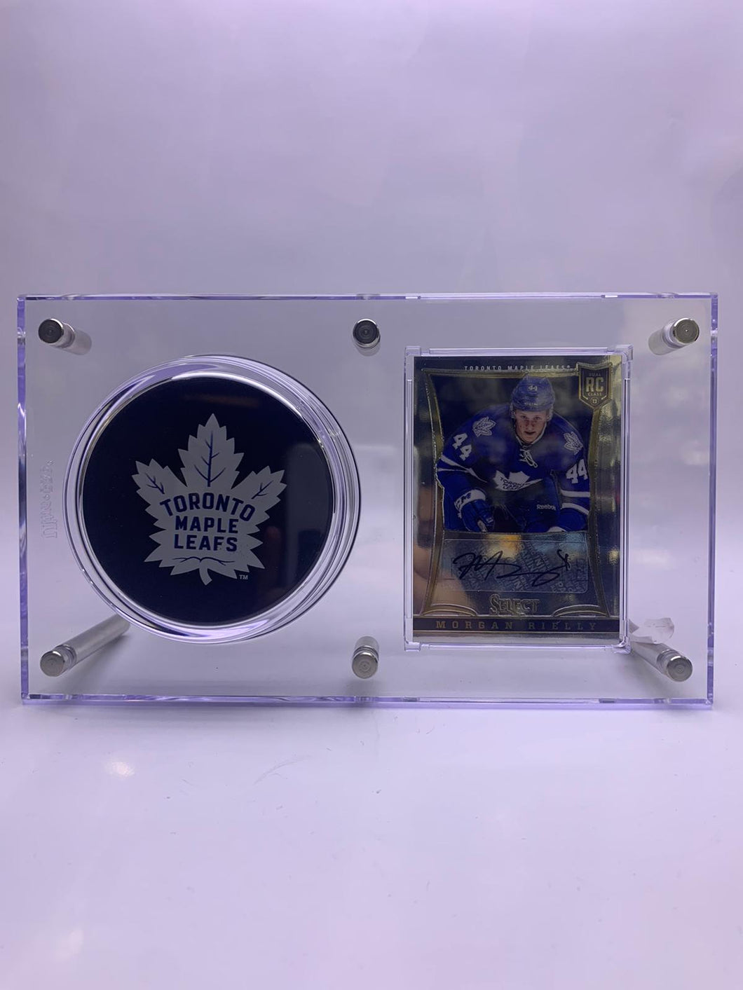 Toronto Maple Leafs Morgan Rielly Game-Used Stick and Collectible Card.