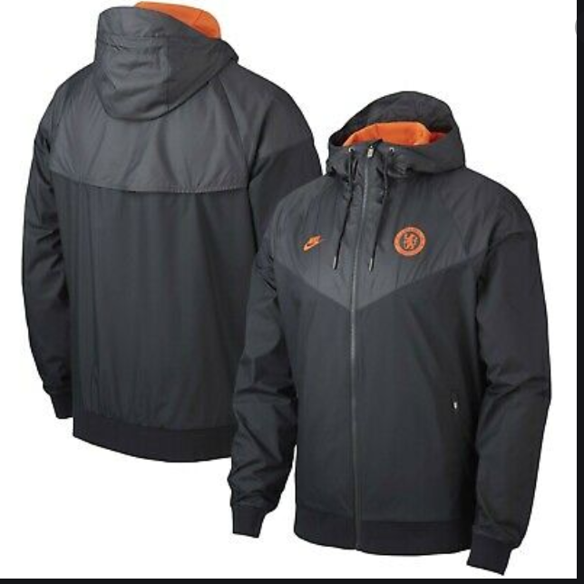 Nike Chelsea FC 2019 - 2020 AW Soccer Windbreaker Hooded Jacket Black Orange