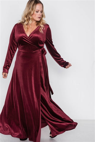 Plus Size Burgundy Velvet Evening Dress