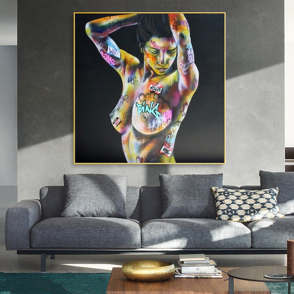 Sexy Woman Body Graffiti Art Paintings on the Wall Art Posters and Prints NUde Woman Street Art Pictures Home Wall Decor Cuadros