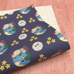 Space Themed Wrapping Paper Sheet