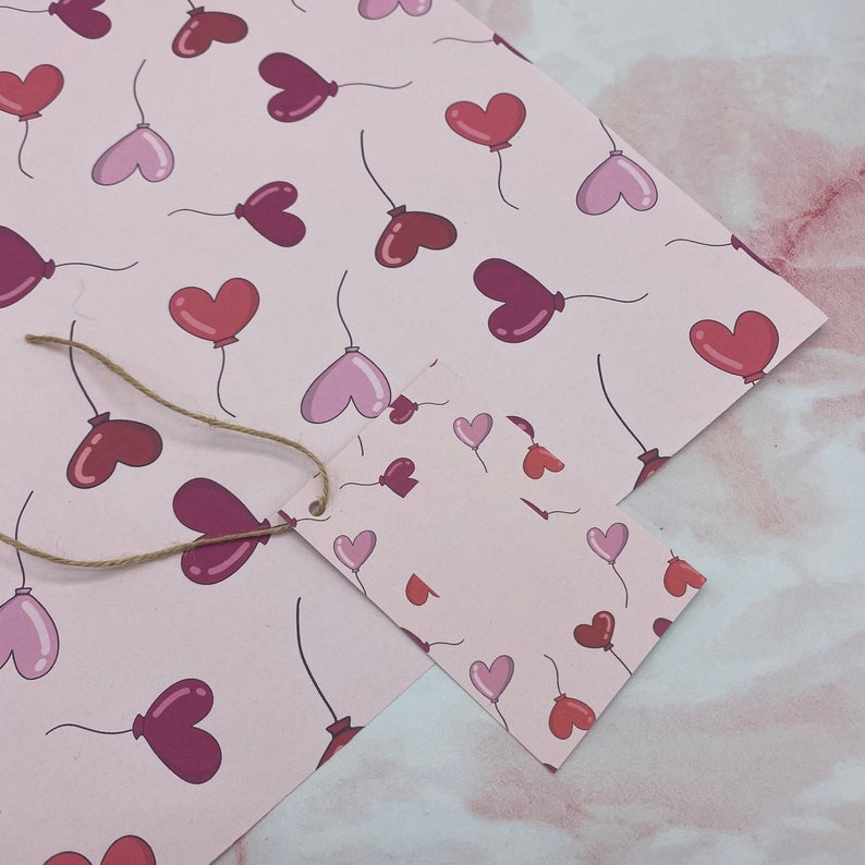 Heart Balloons Wrapping Sheet