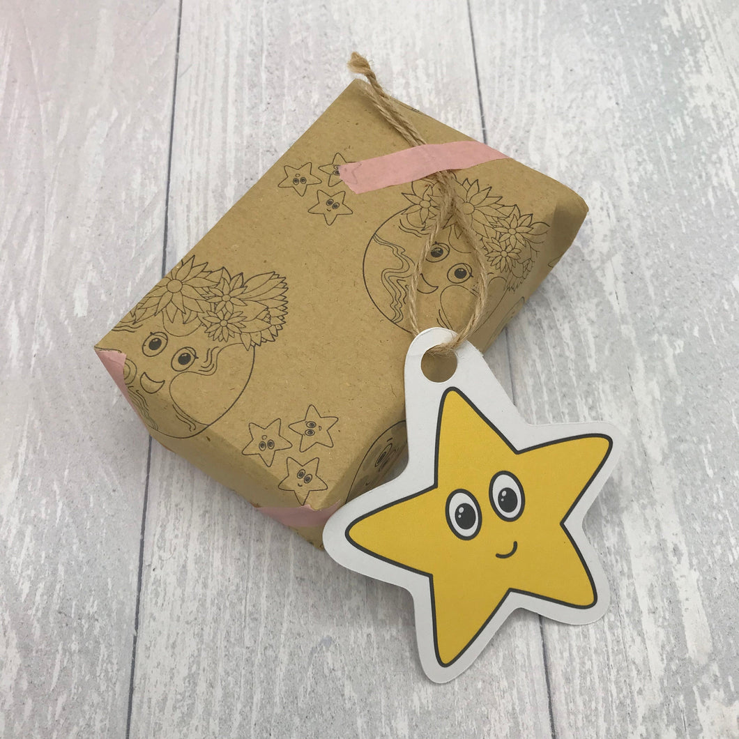 Earth, Moon and Stars Kraft Wrapping Sheet