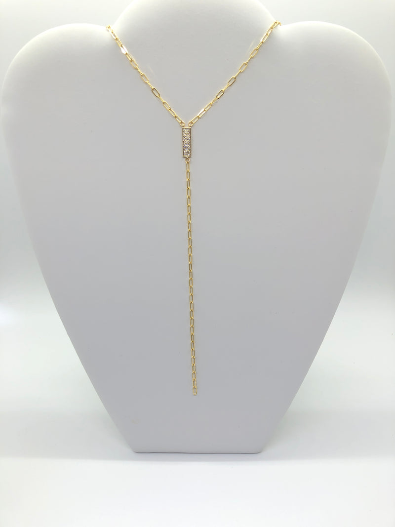 "16"" Gold filled CZ Y Necklace"