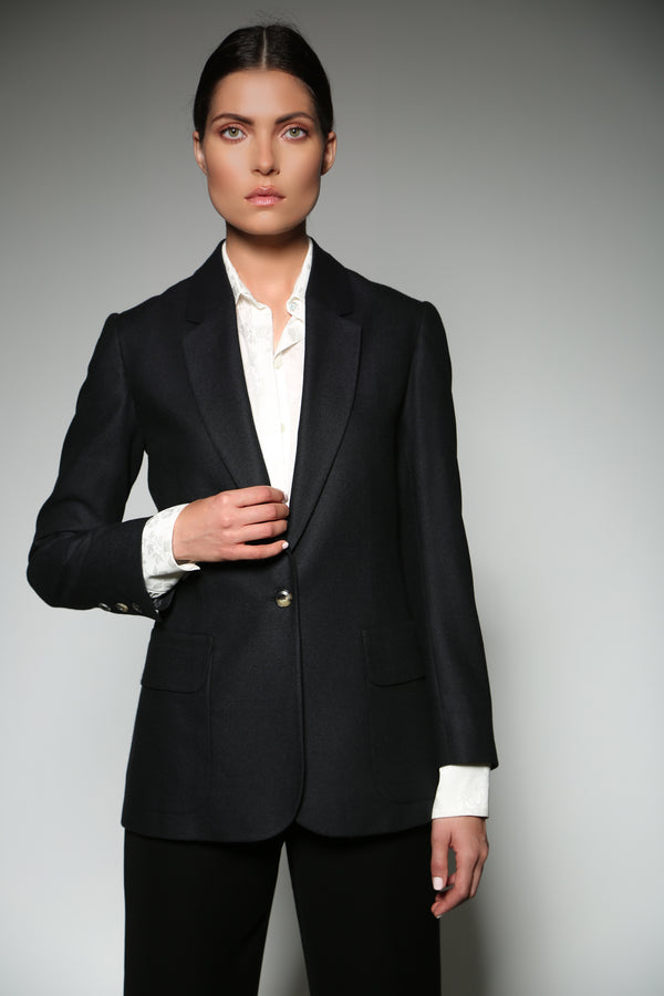 BLACK CASHMERE SILK TAILORD JACKET