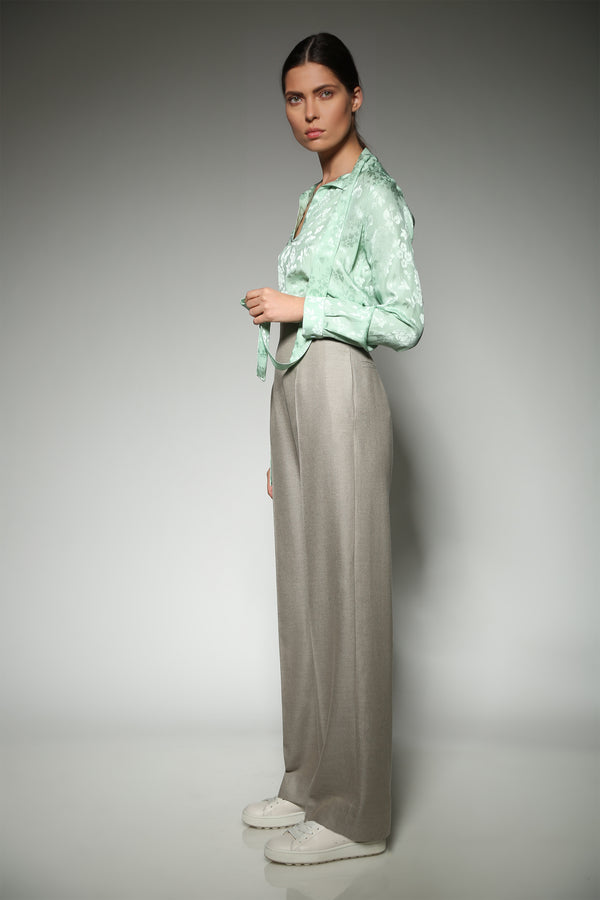 BEIGE CASHMERE SILK HIGH WAIST TROUSERS WITH BACK ZIPPER