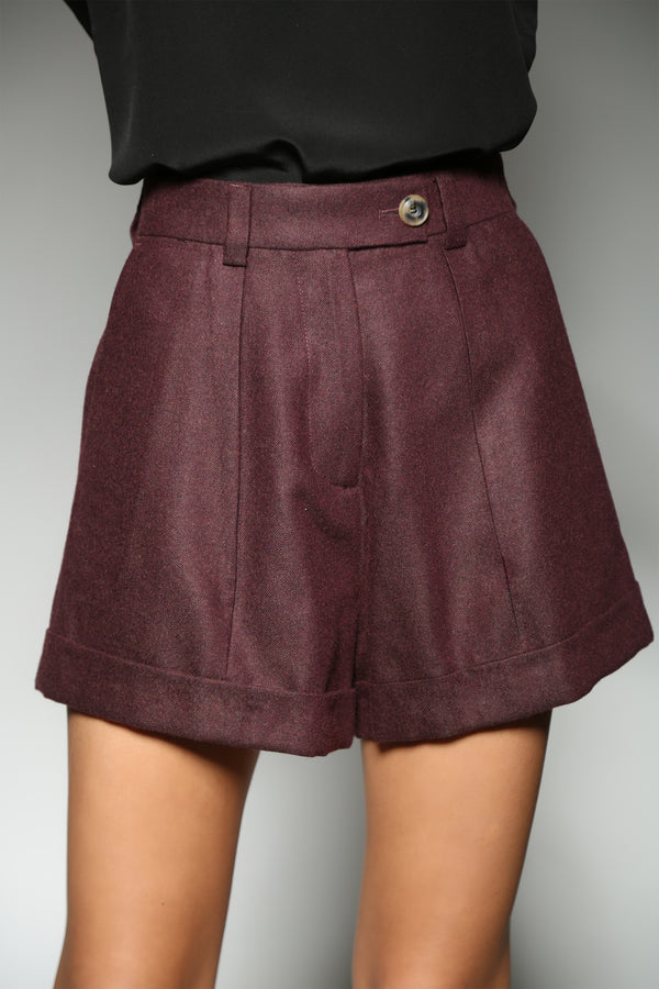 BURGUNDY CASHMERE SILK CLASSIC ONE PLEAT SHORTS