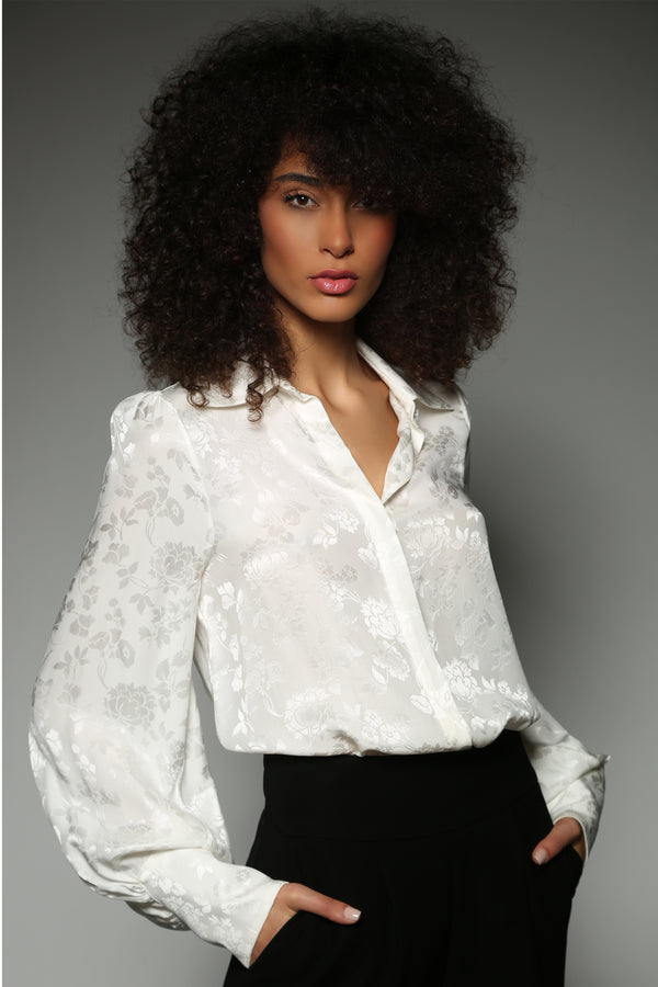 IVORY SILK FLOWER JACQUARD BISHOP SLEEVE  BLOUSE
