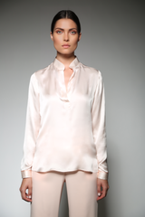 LIGHT PINK FRANTZI BASIC SILK SATIN BLOUSE