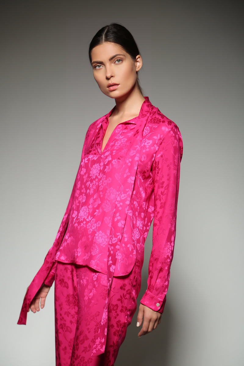 FUCHSIA SILK FLOWER JACQUARD TIE NECK BLOUSE