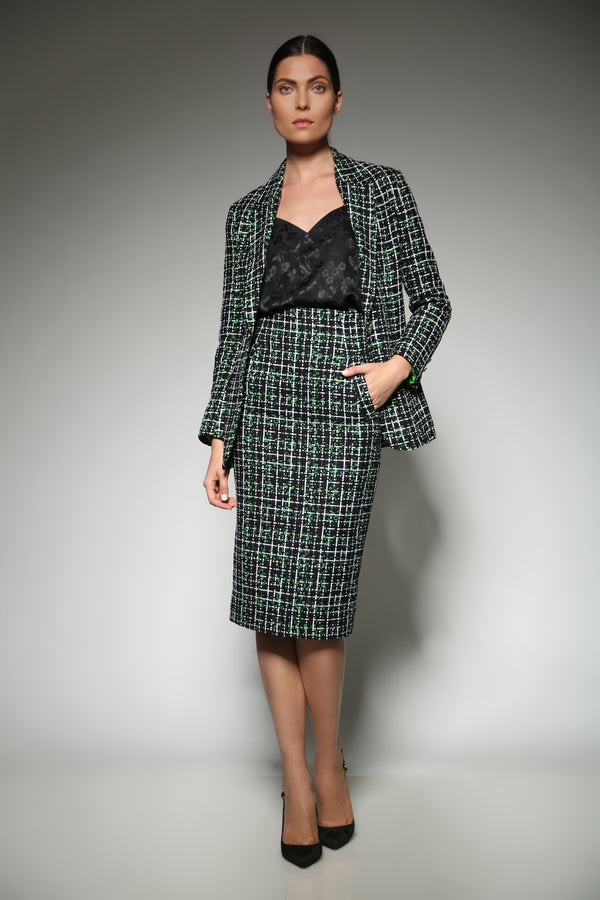 Green Tweed Pencil Skirt with broad welt pockets