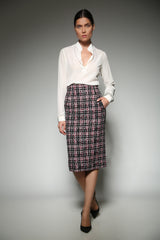 Pink Tweed Pencil Skirt with broad welt pockets
