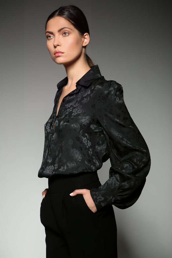 BLACK SILK FLOWER JACQUARD BISHOP SLEEVE  BLOUSE