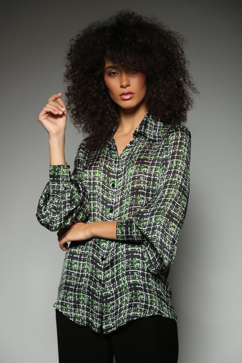 GREEN SILK CHARMEUSE TWEED PRINT BISHOP SLEEVE BLOUSE