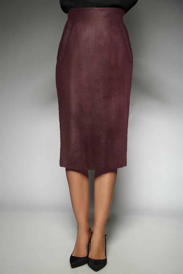 Burgandy Cashmere silk Pencil Skirt with broad welt pockets