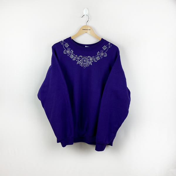 Sweat Vintage </br> Violet à strass