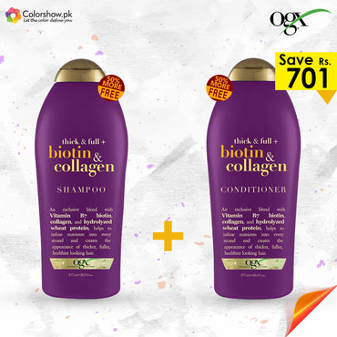 OGX Thick & Full Biotin & Collagen Shampoo + Conditioner (50% FREE PACK)