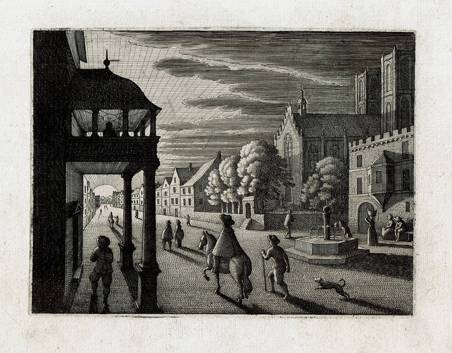 Matthaus Merian: City Street at Sunset