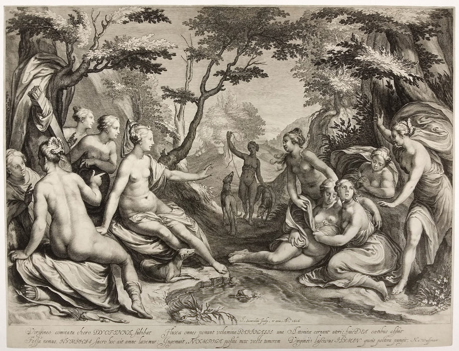 Jan Saenredam: Diana Discovers the Pregancy of Callisto's (after Paul Moreelse)