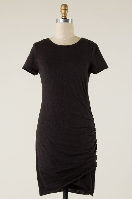 Solid Ruched Knit Dress