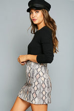 Load image into Gallery viewer, Animal Printed Denim Skirt Taupe