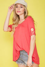 Load image into Gallery viewer, Coral Red Short Sleeve Top