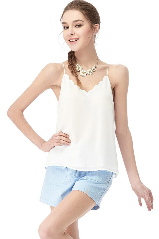 Scallop trim crossed back tank