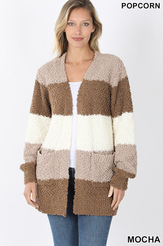 Color Block Popcorn Cardigan