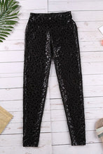 Load image into Gallery viewer, Black Shiny Leopard Textured Leggings