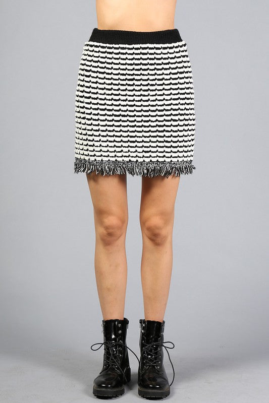 Ribbed Tweed Knit Mini Skirt