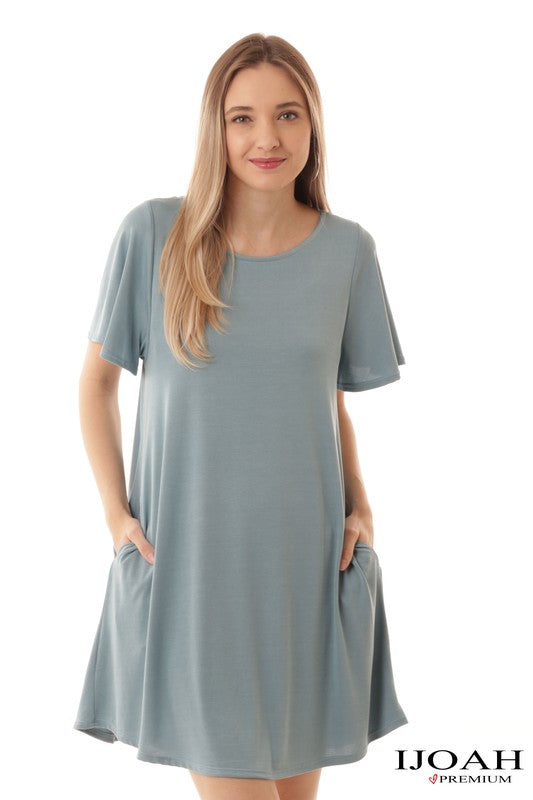 Dusty Blue A Line Dress