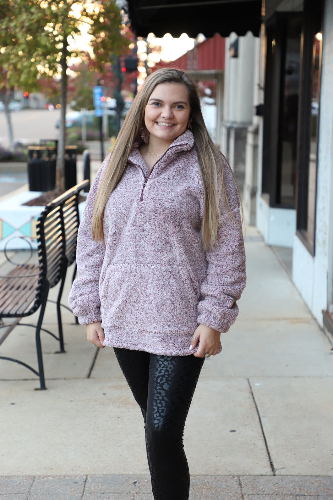 Maroon & White Fleece Pullover Plus Size