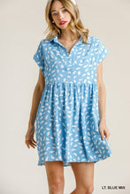 Load image into Gallery viewer, Dalmatian Print Short Folded Sleeve V-Neck Collared Babydoll Dress