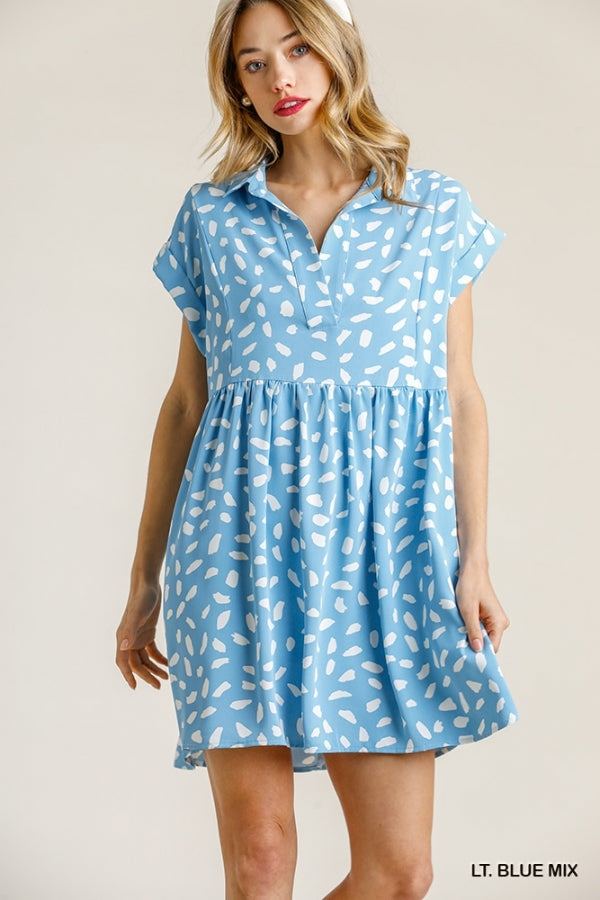 Dalmatian Print Short Folded Sleeve V-Neck Collared Babydoll Dress