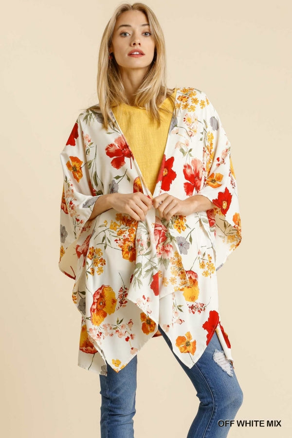 Open Front Floral Print Kimono with Slide Slit