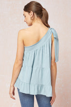 Load image into Gallery viewer, Solid tiered one-shoulder top featuring self-tie detail at shoulder