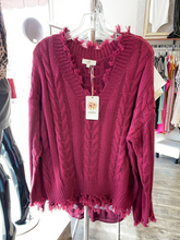 Load image into Gallery viewer, Wine Frayed Knit Top