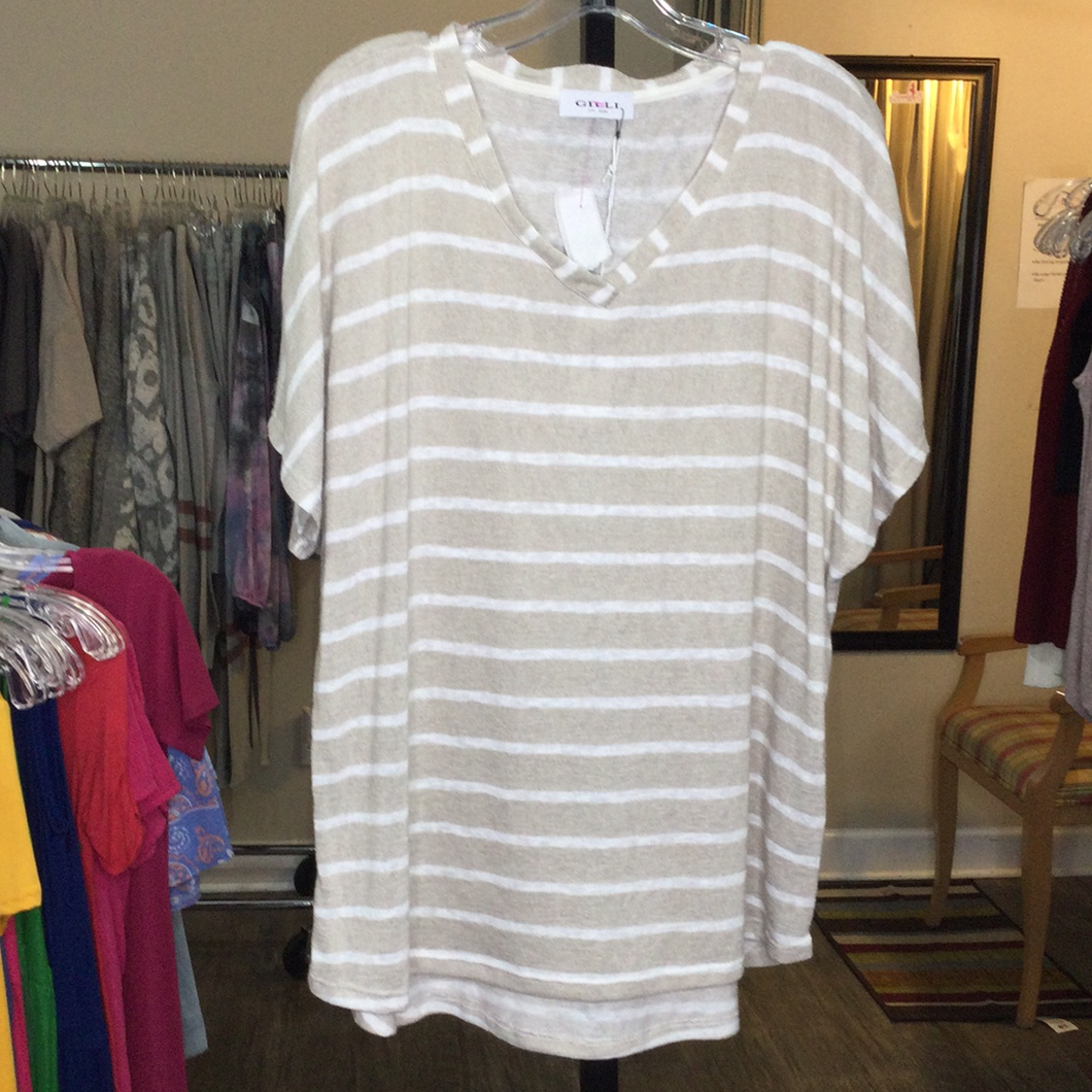 Plus Short Sleeve Stripe Top