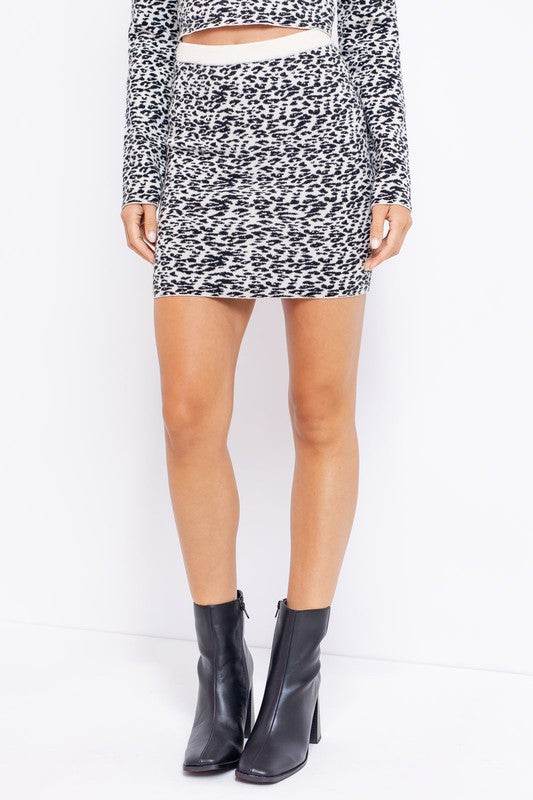 Animal Graphic Sweater Mini Skirt