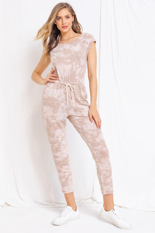 French Terry V-Neck Jumpsuit