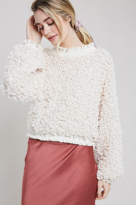 Textured Mock Neck Pullover