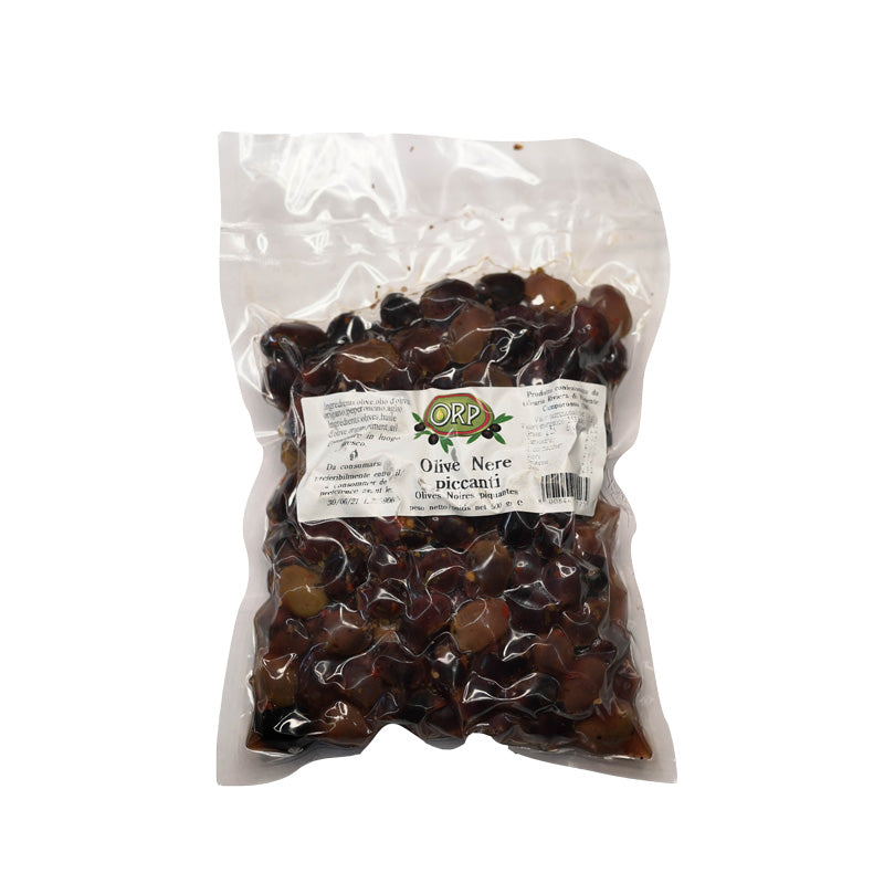 Spicy black olives - 500 gr.