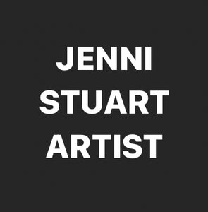 Logo white text 'Jenni Stuart Artist' on blackground. The image is square in shape.